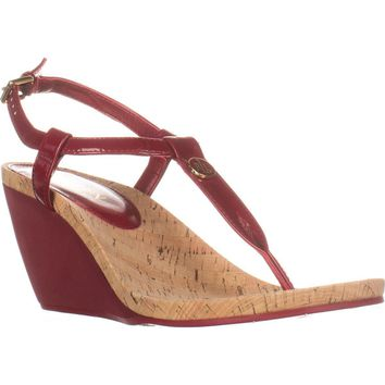 Lauren Ralph Lauren Reeta Wedge T-Strap Sandals, Red, 9.5 US / 40.5 EU
