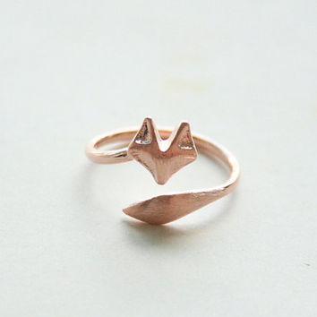Rose Gold Fox Ring, Adjustable Ring, Knuckle Ring, Simple Ring, Everyday Ring, Tiny Ring, Minimalist Ring, Gift Rings, Dainty Jewelry,