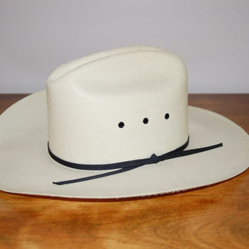 Ivory Straw Cowboy Cowgirl Hat, Shepler's Off White Straw Fine Weave Rodeo Hat, Unisex Childrens Ranch Hat, Western Decor, Halloween Costume