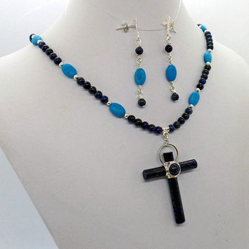Lapis Cross Lapis Turquoise Pendant Necklace Earring Set Stone Cross