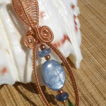 Kyanite blue silver gemstone copper wire wrapped large bailed pendant