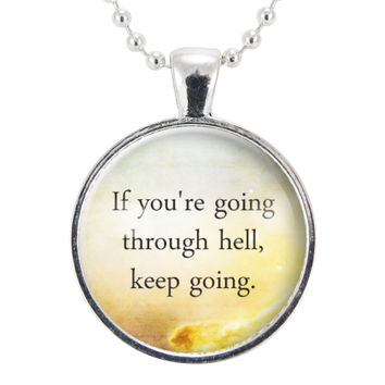 Motivational Quote Necklace, Inspirational Winston Churchill Quotes Jewelry