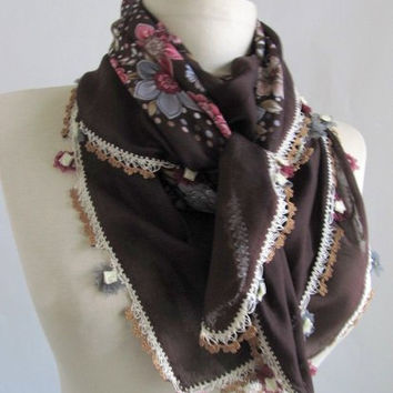 Christmas gift -Brown scarf -Dark Brown scarf - Turkish Yemeni scarf-Square Scarf.asuhan loop scarf infinity scarf