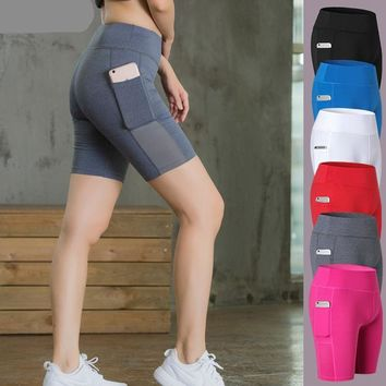 Phone Pocket Colorful Women Gym Compression Booty Shorts Spandex Ladies Volleyball Running lycra Athletic