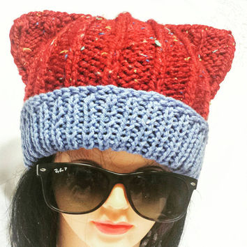 Knitted Cat Hat, Women Fashion Cap, Hot Style Hat, Costume Beanie, Female Ear Hat, Two Colors, Multicolor Hat, Grey Blue, Winter Trends