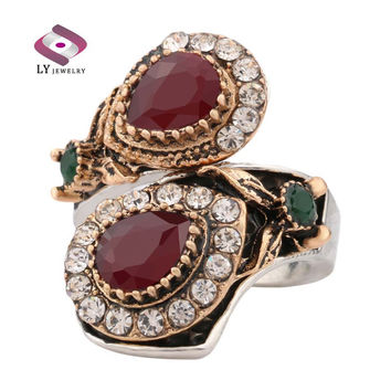2016 New Luxury Ruby Jewelry Vintage Turquoise Ring For Women Plating Silver And Gold Mosaic Oval Resin Party Anel
