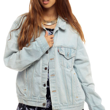 Levis Denim Jacket 80s Jean Jacket Faded Distressed Levi Coat 1980s Light Blue Vintage Oversized Grunge Biker Men Hipster medium