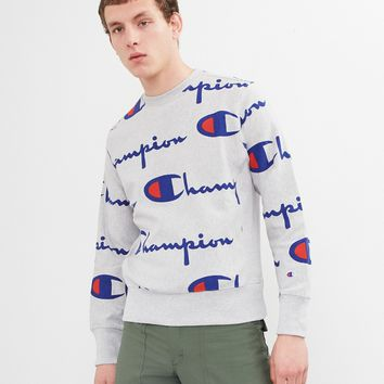 Champion Logo Print Sweatshirt Grey