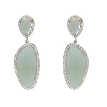 Two Piece Aquamarine Stone Drop Earrings in Sterling Silver