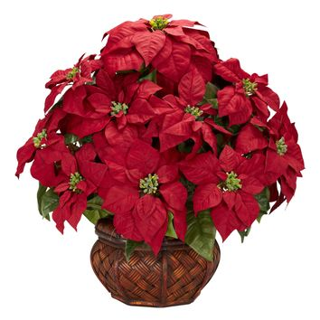 Artificial Flowers -Poinsettia With Decorative Planter Arrangement Silk Flowers
