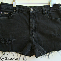 Black High Waisted Shorts Distressed Ripped Denim Jean Shorts Summer Clothing Size 10