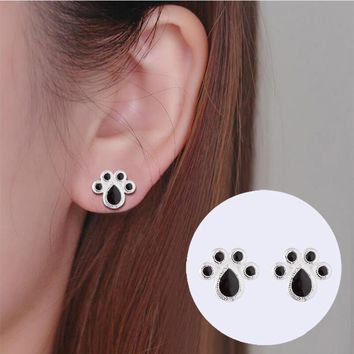 yiustar New Hot Fashion Cute Paw Earrings for Women Cat and Dog Print Stud Earrings Paint Print Paw Animal Ear Stud SYED222