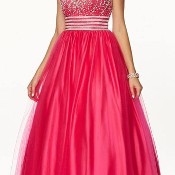 Beaded Empire Waist Corset Bodice Fuchsia Strapless Ball Gown