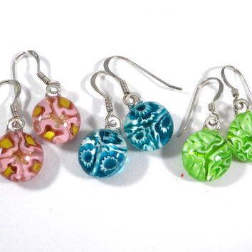 Floral Dangle Earrings, Sterling Silver Hooks, Pink, Aqua Blue, Lime Green, Fused Glass Jewelry
