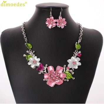 Party Jewelry Sets Pink Flower Pendant Necklace/Earring jewellery Set for Women Delicate