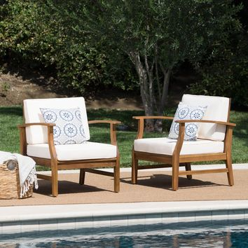 Pearl Outdoor Teak Finished Acacia Wood Club Chairs with Water Resistant Cushion