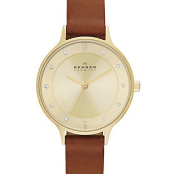 Skagen Womens  Anita Watch - Gold Tone Case & Dial - Brown Leather Strap