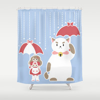 My Neighbor Puppycat Shower Curtain by Katy Marie Ketter-Franklin | Society6