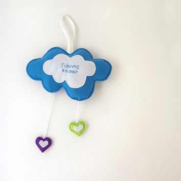 Felt cloud mobile, blue personalized cloud with hearts, nursery decor, baby mobile, baby shower gift