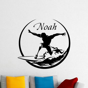 Personalized Surfing Wall Vinyl Decal Sea Surfer Surf Nautical Boy Custom Name Sticker Poster Home Kids Nursery Mural Bathroom Art Deco Made in US