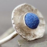 Blue Azurite in Reticulated Sterling Silver Ring by elseetee2