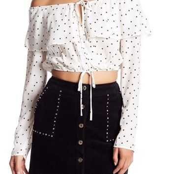 Honey Punch | Off-the-Shoulder Star Print Cropped Blouse | Nordstrom Rack