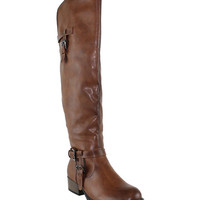 Brown Buckle Mulberry Knee-High Riding Boot