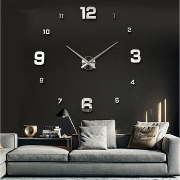 3D Acrylic Mirror Big & Small Numerals DIY Wall Clock