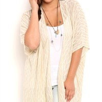 Plus Size Sweater Knit Kimono with Fringe Trim