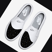 Womens custom Nike Toki slip on canvas sneakers, Cute trendy design, Black, white, gold design, Gold and white dots, love, minimalistic,