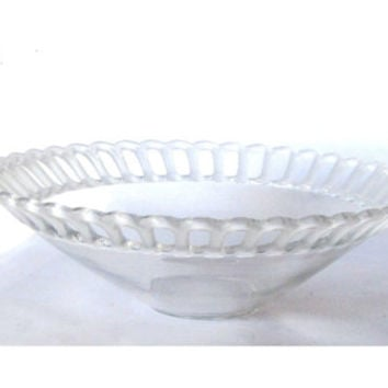 Vintage clear glass bowl. Ornate edges. Frosted glass edges.