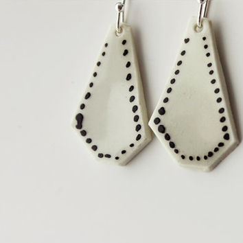 Ceramic handmade black and white with dots geometric dangle earrings - MADE TO ORDER