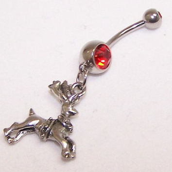 Reindeer Charm, Rudolph, Double Gem, Belly, Button, Piercing, Made to Order, CHOICE OF COLORS