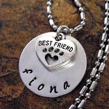 Best Friend Jewelry, Paw Print Jewelry, Dog Jewelry, Pet Jewelry, Personalized Paw Print Jewelry, Animal Jewelry, Hand Stamped Dog Necklace