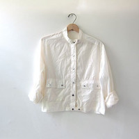 vintage white rain jacket. spring rain coat. cropped spring jacket.