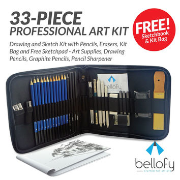 33-piece Professional Art Kit - Drawing and Sketch Kit with Pencils Erasers Kit Bag and Free Sketchpad - Art Supplies Drawing Pencils Graphite Pencils Pencil Sharpener
