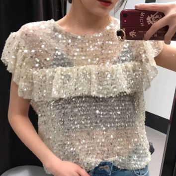 Summer women's hot selling sexy sequin beads embellished with shiny blouses