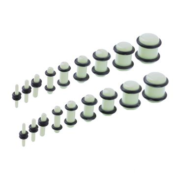 BodyJ4You 18PCS Plugs Stretching Kit 14G-00G Glow in the Dark Ear Gauges Set Acrylic Double O-Ring Expanders