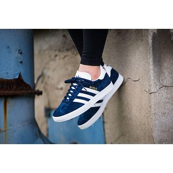 Adidas Originals Wmns Gazelle Blue / White / Gold Metallic Sneakers Classic Casual Shoes - S76227-1