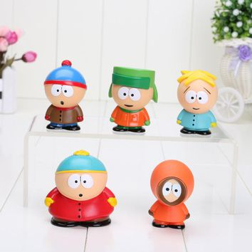 5pcs/Set South Park The Stick of Truth Kyle Butters Kenny Cartman Cute Toy PVC Action Figure