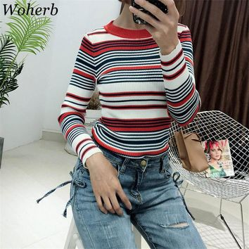 Woherb 2018 Korean Casual Striped Sweater Women Harajuku Elastic Knitting Jumper Pull Pullover Manteau Femme Hiver 20236