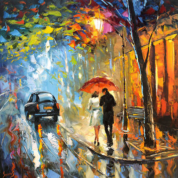 "September rain. Oil Painting on canvas by Dmitry Spiros.  Size: 36""x36"" (90 x 90 cm)"