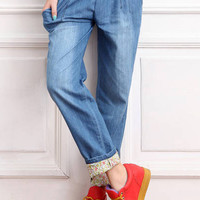 Drawstring Waist Bleached Denim Pants