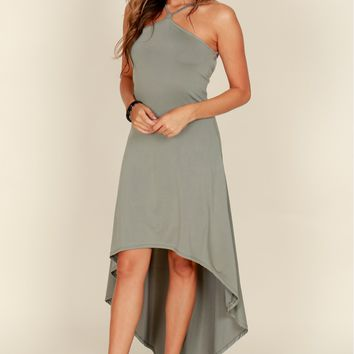High Low Halter Dress Olive