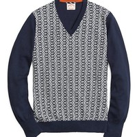 Men's Anchor Pattern Saddle Shoulder V-Neck Sweater