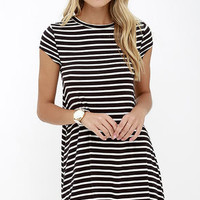 Billabong Last Minute Black and White Striped Dress