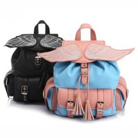 CrazyPomelo Cute Angel Wing PU Backpack With Tassels (Colorful)