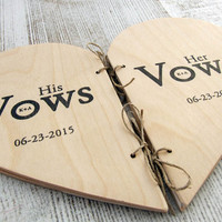 Personalized Wedding Vow Books - unique vow book - Rustic Weddings - set of two