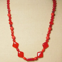 Red Beaded Necklace 19 Inches Long Triangle Oblong Rectangular Round Shaped Plastic Beads Lightweight Vintage