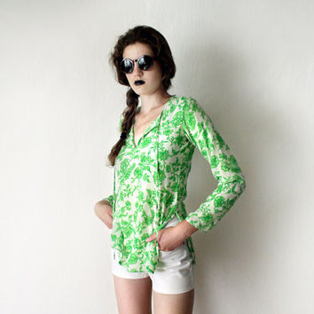 CIJ Bohemian Silk Floral Top - Vintage Silk Tunic Blouse Ivory White Neon Lime Green Flower Print Sequin Embroidery Blouse Long Sleeve Top